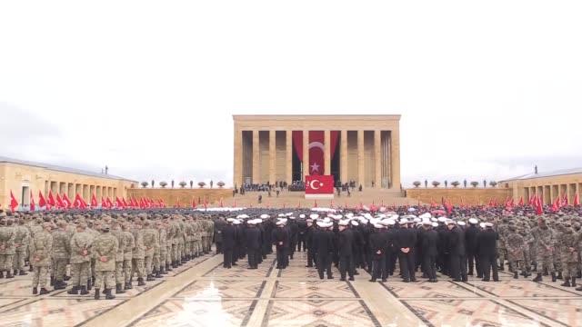 turkish president recep tayyip erdogan parliament speaker ismail kahraman prime minister binali yildirim chief of staff gen hulusi akar main... - mausoleum stock videos and b-roll footage