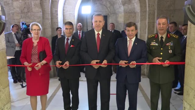 turkish president recep tayyip erdogan prime minister ahmet davutoglu and chief of turkey's general staff hulusi akar attend a ceremony in which... - ceremony stock videos & royalty-free footage