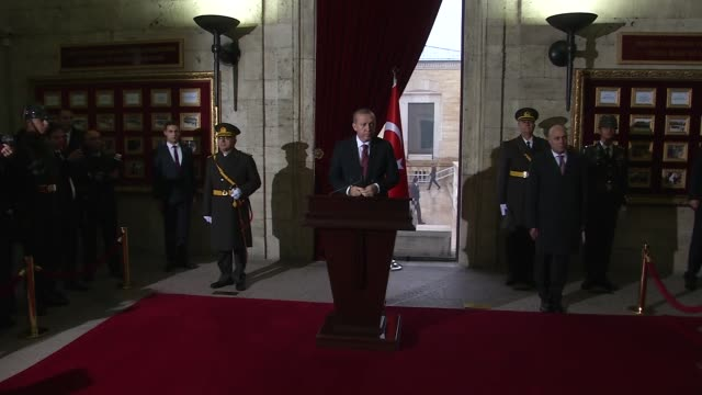 Turkish President Recep Tayyip Erdogan Prime Minister Binali Yildirim and high state officials visit Anitkabir the mausoleum of the founder of...