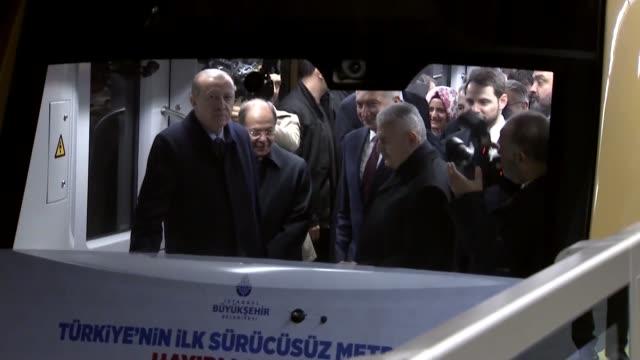turkish president recep tayyip erdogan prime minister binali yildirim and transport maritime and communications minister ahmet arslan attend the... - binali yildirim stock-videos und b-roll-filmmaterial