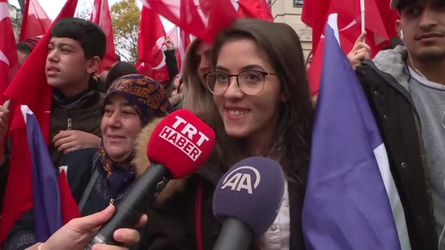 turkish president recep tayyip erdogan received a warm welcome by a group of turks in french capital on saturday erdogan arrived in paris at the... - armistice stock videos & royalty-free footage