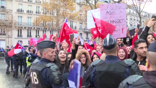 turkish president recep tayyip erdogan received a warm welcome by a group of turks in french capital on saturday. erdogan arrived in paris at the... - armistice stock videos & royalty-free footage