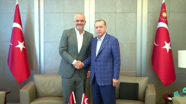 Turkish President Recep Tayyip Erdogan receives Albanian Prime Minister Edi Rama at Tarabya Presidential Residence in Istanbul Turkey on July 09 2017