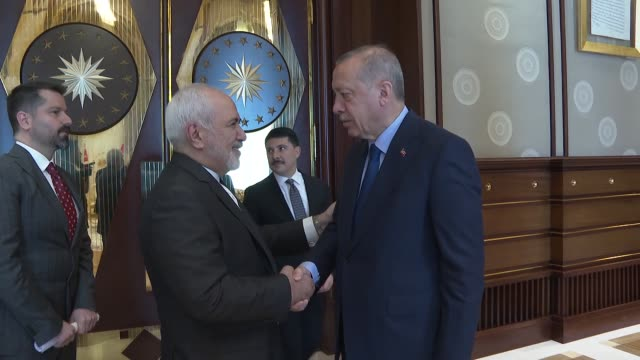 turkish president recep tayyip erdogan receives iranian foreign minister mohammad javad zarif in ankara turkey on april 17 2019 - foreign minister stock videos and b-roll footage
