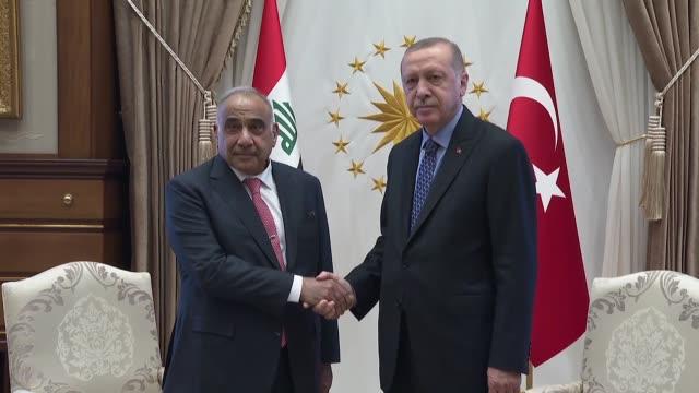 turkish president recep tayyip erdogan receives iraqi prime minister adil abdulmahdi at the presidential complex in ankara turkey on may 15 2019 - iraqi prime minister stock videos & royalty-free footage