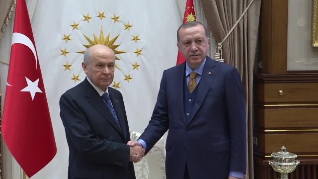 Turkish President Recep Tayyip Erdogan receives leader of opposition Nationalist Movement Party Devlet Bahceli at Presidential Complex in Ankara...
