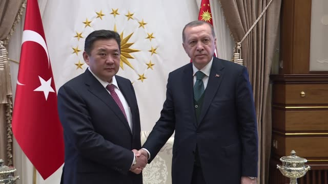 Turkish President Recep Tayyip Erdogan receives Mongolian Parliament Speaker Miyeegombyn Enkhbold at Presidential Complex in Ankara Turkey on March...