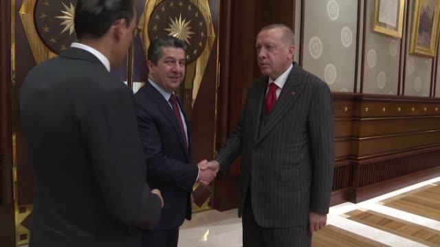 turkish president recep tayyip erdogan receives prime minister of iraqi kurdish regional government masrour barzani at presidential complex in... - クルド人点の映像素材/bロール
