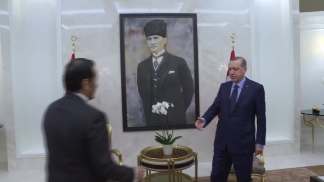 Turkish President Recep Tayyip Erdogan receives Qatar Minister of Foreign Affairs Shaikh Mohammed bin Abdulrahman AlThani in Ankara Turkey on...