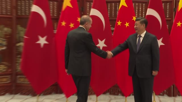turkish president recep tayyip erdogan shakes hands with chinese president xi jinping during their meeting as part of the 11th g20 leaders' summit in... - g20 leaders' summit stock videos & royalty-free footage