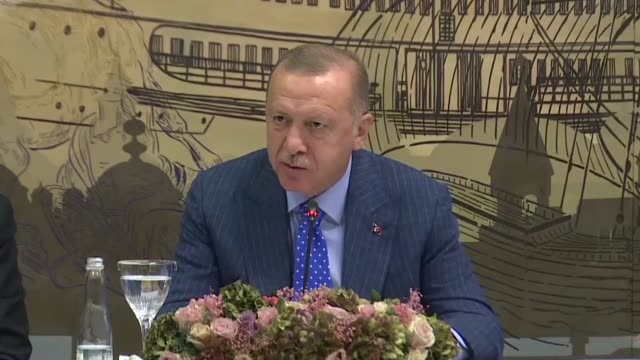turkish president recep tayyip erdogan speaks about the ongoing operation peace spring in northern syria during a meeting in istanbul, turkey on... - us state border stock videos & royalty-free footage