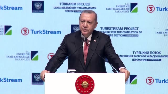 Turkish President Recep Tayyip Erdogan speaks alongside Russian President Vladimir Putin during completion ceremony of TurkStream gas pipeline's...