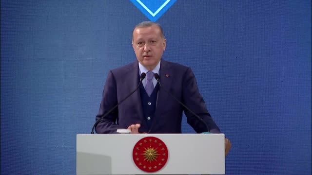 Turkish President Recep Tayyip Erdogan speaks at a commemoration ceremony to mark the centenary of the death of Ottoman Sultan Abdulhamid II at the...
