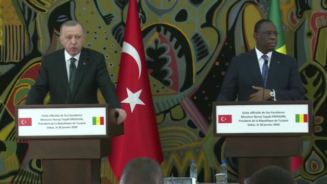 turkish president recep tayyip erdogan speaks at a joint press conference with his senegalese counterpart macky sall following their meeting on... - vox populi stock videos & royalty-free footage