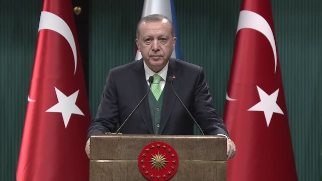 Turkish President Recep Tayyip Erdogan speaks at a joint press conference with his Djibouti counterpart Ismail Omar Guelleh following their meeting...