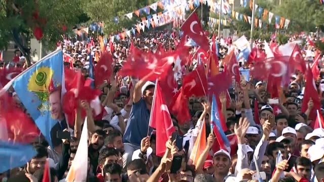 turkish president recep tayyip erdogan speaks at an election campaign rally for the ruling justice and development party in diyarbakir, turkey on... - 16 17 years stock videos & royalty-free footage
