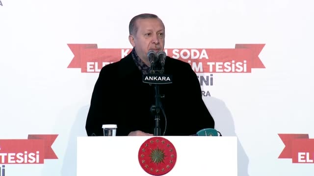 "Turkish President Recep Tayyip Erdogan speaks at an opening ceremony in Ankara Turkey on January 15 2018 Turkey is ready ""at any moment"" to start an..."