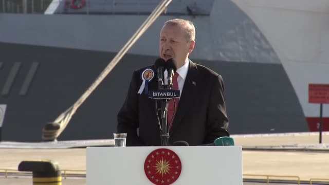 turkish president recep tayyip erdogan speaks at the delivery ceremony of third ship of milgem turkey's first indigenous warship program to turkish... - pct stock videos and b-roll footage