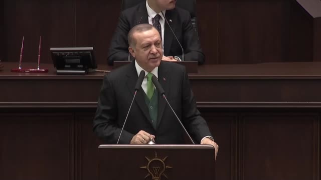 Turkish President Recep Tayyip Erdogan speaks at the parliamentary group meeting of Justice and Development Party at the Grand National Assembly of...