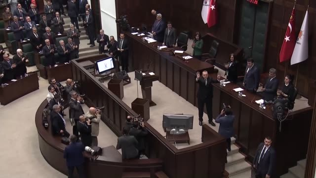 turkish president recep tayyip erdogan speaks at the parliamentary group meeting of justice and development party at the grand national assembly of... - union army stock videos and b-roll footage