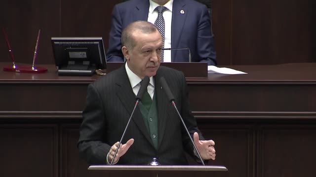 turkish president recep tayyip erdogan speaks at the parliamentary group meeting of justice and development party at the grand national assembly of... - 30 seconds or greater stock-videos und b-roll-filmmaterial