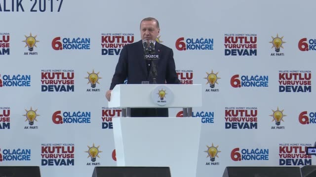 Turkish President Recep Tayyip Erdogan speaks at the provincial congress of ruling Justice and Development Party in northwestern province of Duzce on...