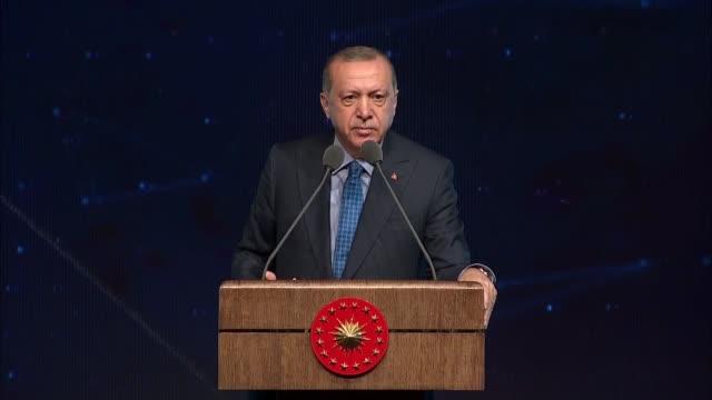 turkish president recep tayyip erdogan speaks at the turkish defense industry summit at bestepe people's convention and culture center in ankara... - g8:s toppmöte bildbanksvideor och videomaterial från bakom kulisserna
