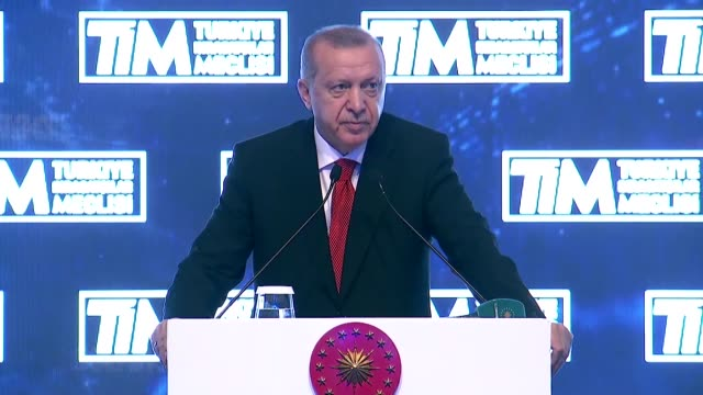 Turkish President Recep Tayyip Erdogan speaks at the Turkish Exporters Assembly in Istanbul Turkey on June 16 2019 Turkey's president on Sunday...
