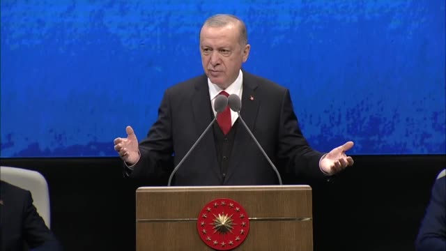 stockvideo's en b-roll-footage met turkish president recep tayyip erdogan speaks at the two-year presidential cabinet evaluation meeting on july 21, 2020 in ankara, turkey. turkey's... - politics and government