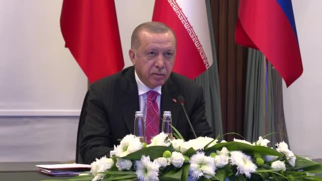 turkish president recep tayyip erdogan speaks at turkey-russia-iran trilateral summit under the astana process via video conference in ankara, turkey... - russia stock videos & royalty-free footage