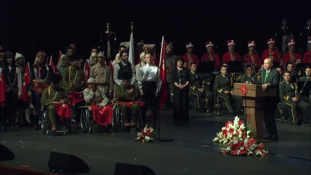 Turkish President Recep Tayyip Erdogan speaks at Veterans Day Ceremony at Bestepe People's Convention and Culture Center in Ankara Turkey on...
