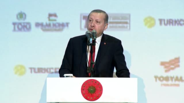 turkish president recep tayyip erdogan speaks during the 16th musiad expo and 20th international business forum congress in istanbul on november 09,... - 2016 stock videos & royalty-free footage