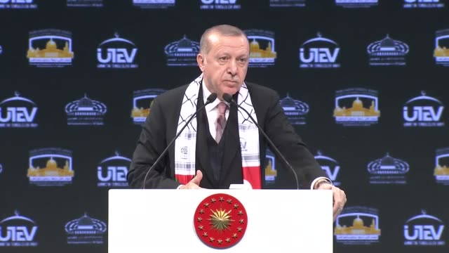 turkish president recep tayyip erdogan speaks during the conference of interparliamentary platform on jerusalem at the istanbul airport turkey on... - columnist stock videos & royalty-free footage