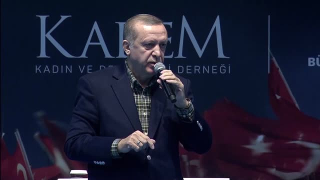 turkish president recep tayyip erdogan speaks during the meeting of women and democracy event organized by kadem at abdi ipekci arena in istanbul... - democracy stock videos & royalty-free footage