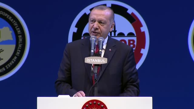 turkish president recep tayyip erdogan speaks in an iftar fast breaking dinner held for tradespeople and craftsmen in istanbul turkey on may 24 2019... - democracy stock videos & royalty-free footage