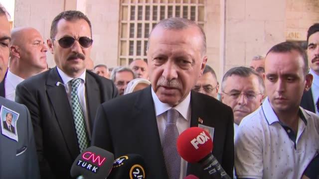 Turkish President Recep Tayyip Erdogan speaks to journalists in parliament on August 01 2018 in Ankara Turkey President Recep Tayyip Erdogan said on...
