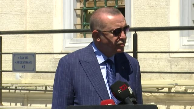 turkish president recep tayyip erdogan speaks to reporters after friday prayers o august 14 2020 in istanbul after the united arab emirates'... - newly industrialized country stock videos & royalty-free footage