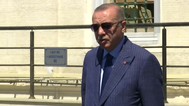 turkish president recep tayyip erdogan speaks to reporters after friday prayers o august 14 2020 in istanbul speaking on the situation in libya... - {{ collectponotification.cta }} stock videos & royalty-free footage