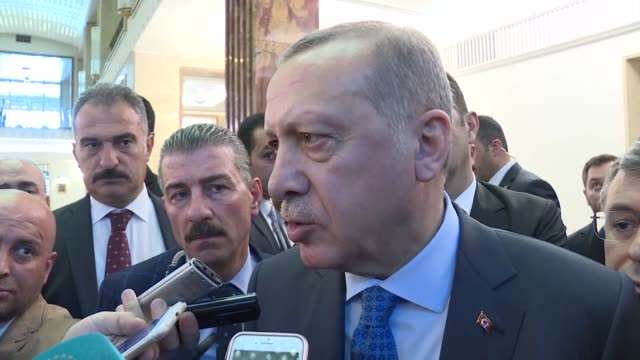 turkish president recep tayyip erdogan speaks to reporters at the grand national assembly of turkey in ankara turkey on april 10 2018 president recep... - minister president stock videos and b-roll footage