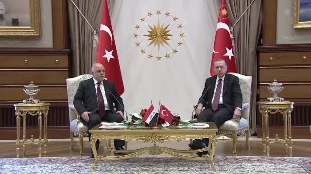 turkish president recep tayyip erdogan speaks to the media following his meeting with iraqi prime minister haider alabadi at presidential complex in... - iraqi prime minister stock videos & royalty-free footage