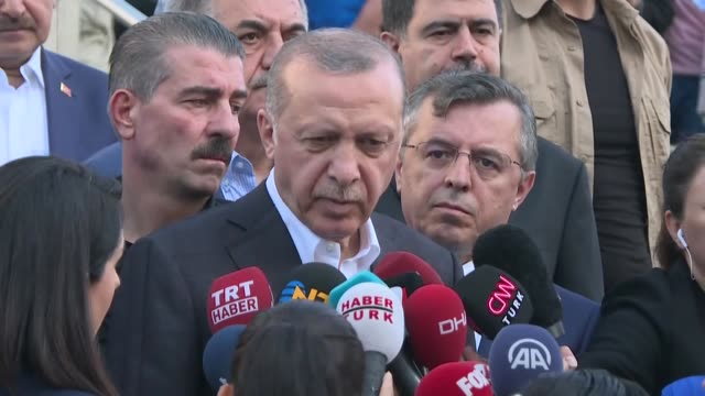 turkish president recep tayyip erdogan speaks to the press after eid alfitr prayer at marmara university faculty of theology mosque in istanbul... - marmara stock videos and b-roll footage