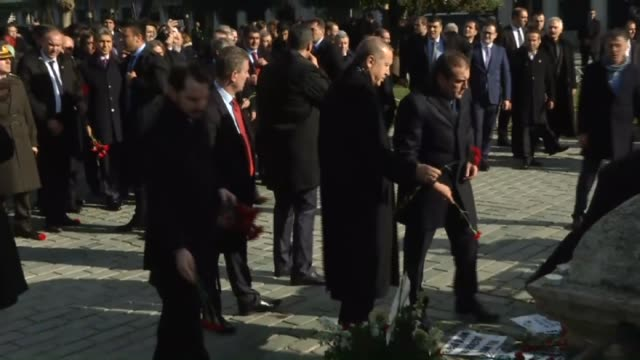 turkish president recep tayyip erdogan speaks to the press at the site of suicide attack following friday prayer at sultanahmet mosque in istanbul... - sultanahmet district stock videos and b-roll footage