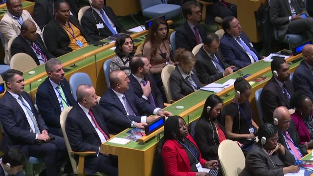 turkish president recep tayyip erdogan turkey's treasury and finance minister berat albayrak and turkish foreign minister mevlut cavusoglu attend the... - united nations stock videos & royalty-free footage