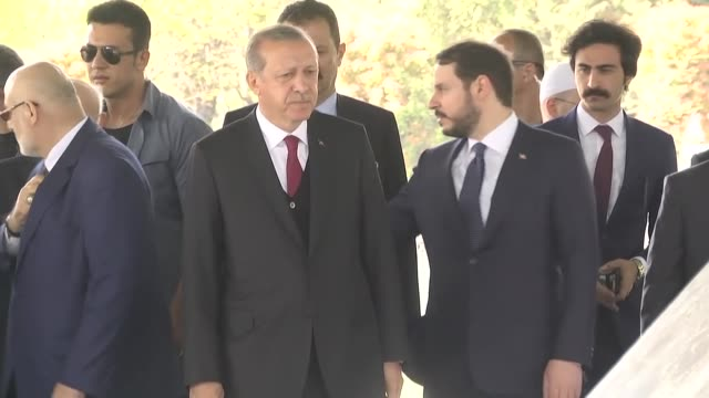 turkish president recep tayyip erdogan turkish minister of energy and natural resources berat albayrak speaker of the grand national assembly of... - mausoleum stock videos and b-roll footage