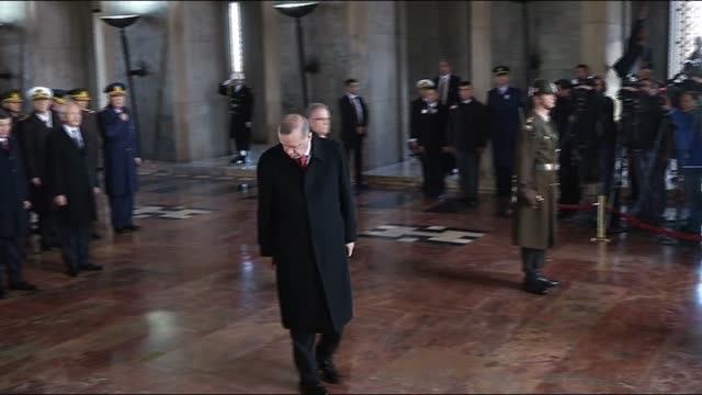 Turkish President Recep Tayyip Erdogan Turkish Prime Minister Ahmet Davutoglu and Republican People's Party leader Kemal Kilicdaroglu visit Anitkabir...