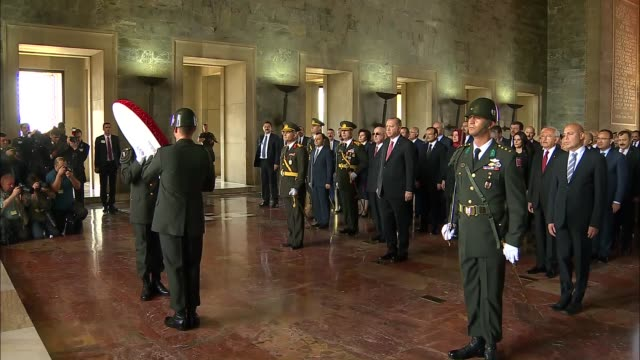 Turkish President Recep Tayyip Erdogan Turkish Prime Minister Binali Yildirim Chief of the General Staff of the Turkish Armed Forces Hulusi Akar and...