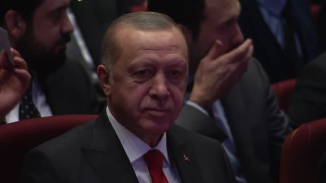 turkish president recep tayyip erdogan vice president fuat oktay culture and tourism ministry mehmet nuri ersoy and government ministers attend a... - 1938 stock videos & royalty-free footage