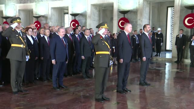 vidéos et rushes de turkish president recep tayyip erdogan, vice president fuat oktay, parliament speaker mustafa sentop, ministers, main opposition republican people's... - cérémonie