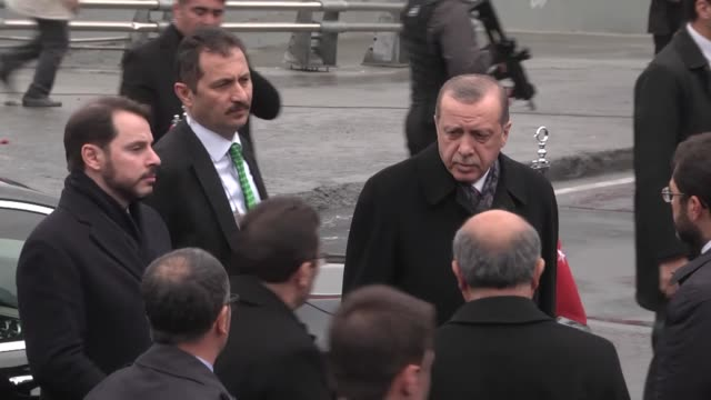 Turkish President Recep Tayyip Erdogan visits the site of a terror attack near the Besiktas football club stadium Vodafone Arena to pay tribute to...