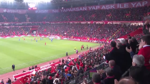 turkish president recep tayyip erdogan watches the uefa euro 2020 qualifying group h match against between turkey and moldova and congratulates head... - championships stock videos and b-roll footage